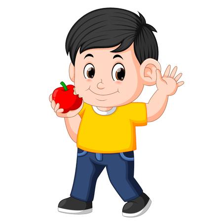 Fröhlicher Junge, der in den Apfel beißt Vektorgrafik