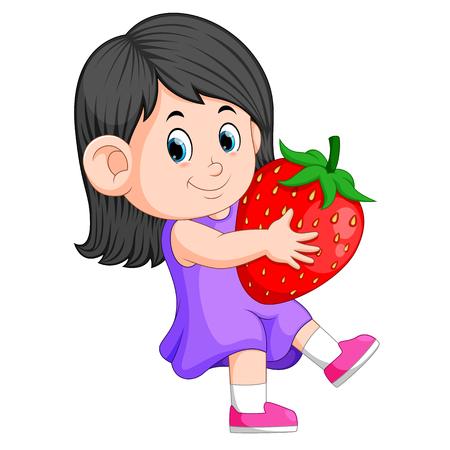 cheerful girl with big strawberries