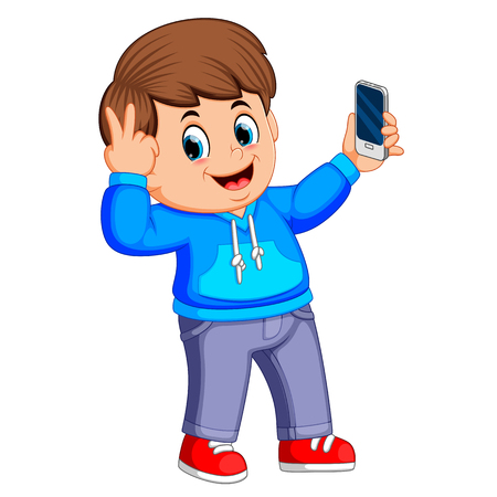 boy holding his smartphone with his hand and taking a selfie of himself Standard-Bild - 114187911