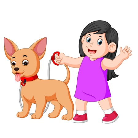 happy girl walking with her dog Illustration