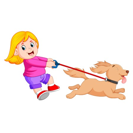 happy girl walking with funny dog Illustration