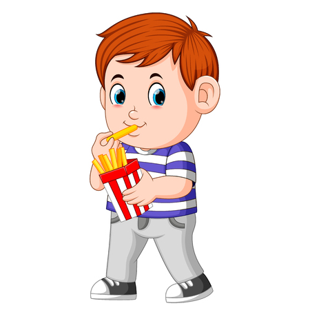 Young boy eating french fries