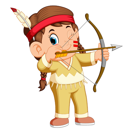 A girl american indian playing archery