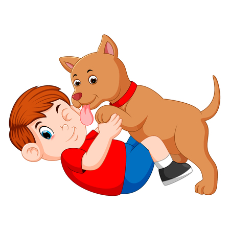 Boy playing with dog and dog licking his owner face