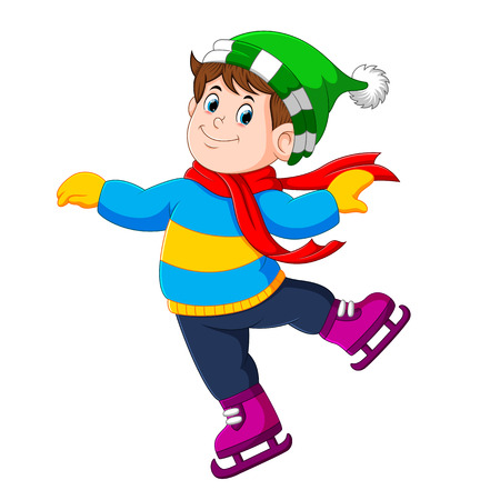 a boy is using the green hat and red shawl with the ice skating shoes