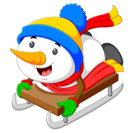 a happy snowman is palying and sliding with the ice cart