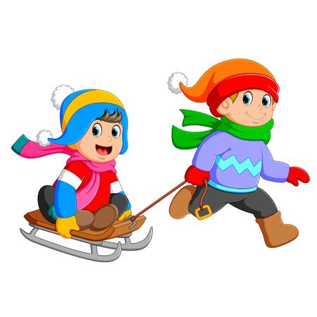 un garçon court pour tirer la fille sur le chariot Vecteurs
