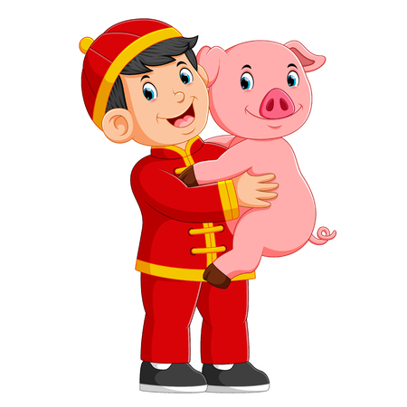 a little boy Is playing with a pig in the chinese new year