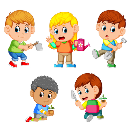 a group of happy children holding the garden tools