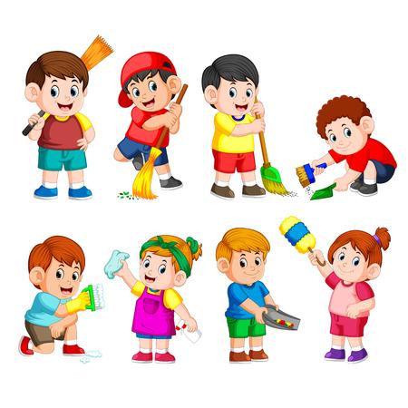 un grupo de niños sosteniendo las herramientas de limpieza para limpiar algo. Ilustración de vector