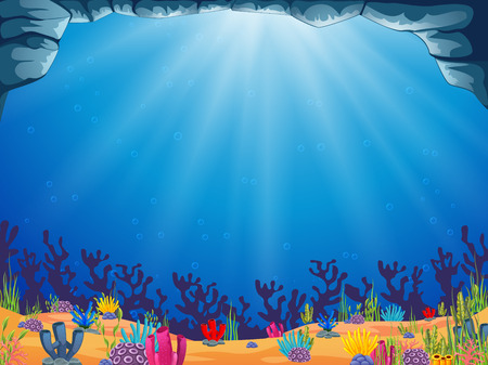 a beautiful ocean background with the blue water  イラスト・ベクター素材
