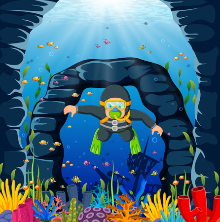 a diver man is using the grey swimming cloth and green frog shoes
