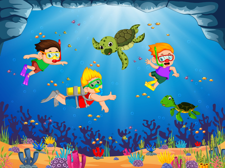a group of children are playing and diving with the green turtle Illustration