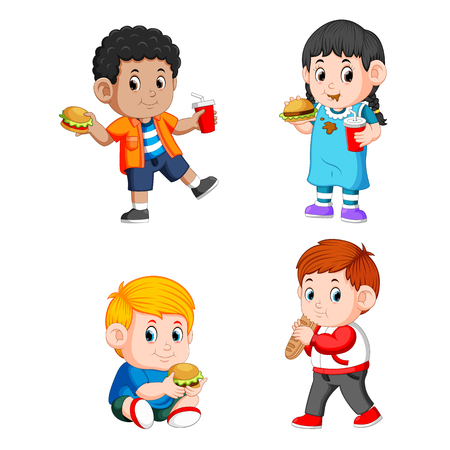 a collection of the children holding their fast food and soda with their hands