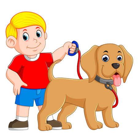 a boy is holding the red rope and standing beside the dog