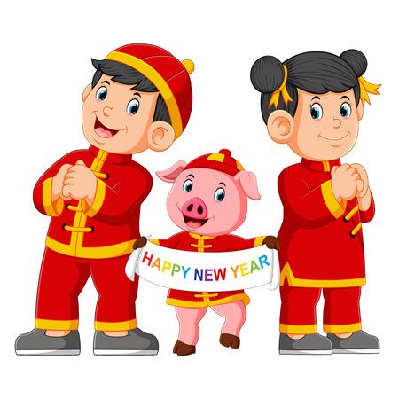 two children with a pink pig are giving a greeting for a chinas new year 版權商用圖片