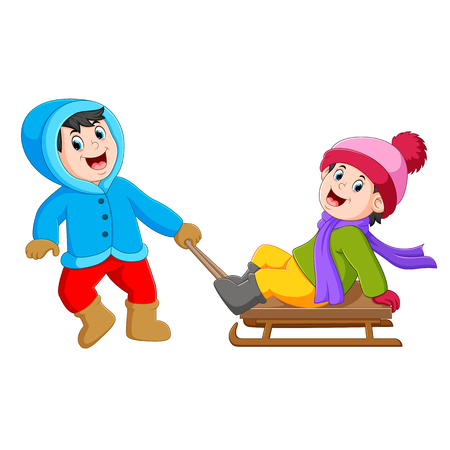 a boy with a blue jacket is pulling the ice cart with the girl on it Stockfoto - 115178236