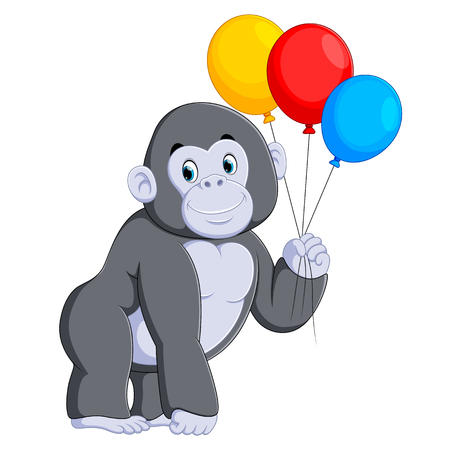 the big grey gorilla standing and holding the colorful balloon  イラスト・ベクター素材