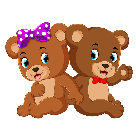 two cute bears using the ribbon and they are sitting together  イラスト・ベクター素材