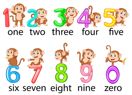 the collection of the number with the monkey beside with the different posing Illustration