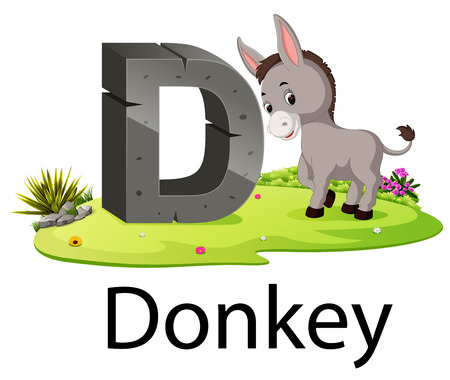 zoo animal alphabet D for Donkey with the animal beside Ilustração