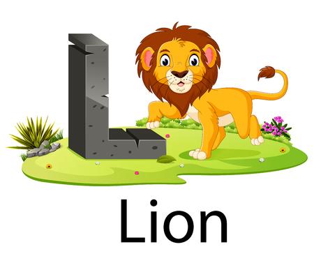 Alfabeto de animales de zoológico L para león con el animal lindo Ilustración de vector