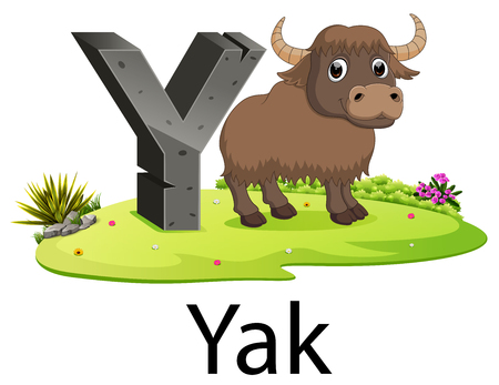 cute ancient animals alphabet Y for Yak with the good animation beside