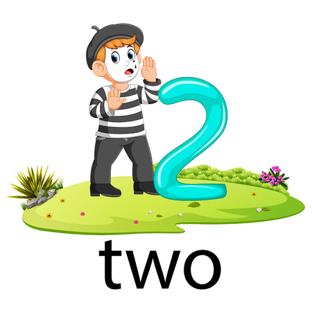 pantomime with the 2 balloon number and text with different posing