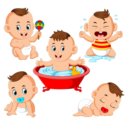 the collection of the baby boy doing the activities with different expression