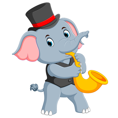 the big grey elephant uses the black hat and playing the trumpet