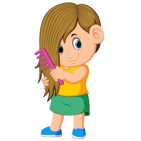 la niña se está peinando con el peine rosa