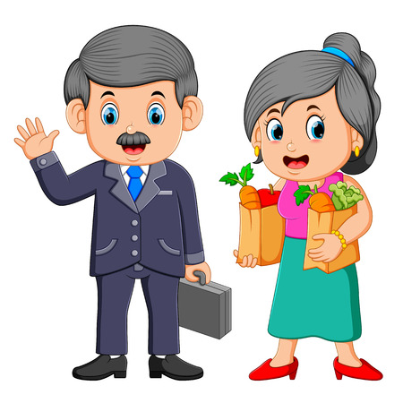 Business man with Young woman holding grocery shopping bag with vegetables 矢量图像