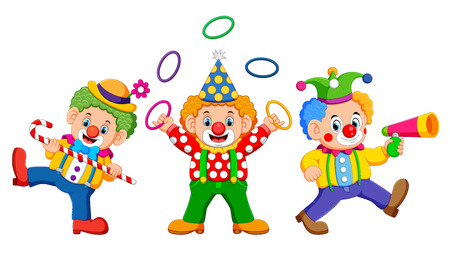 the three clowns are playing the attraction with the good costume