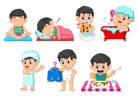 the collection of the boy doing the daily activities