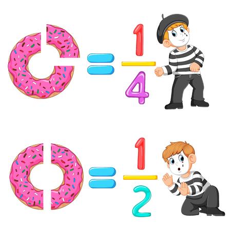 la distribución del número de rosquilla y gelatina con la buena pantomima