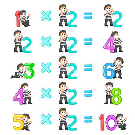 the number multiplication from 2 until 10 with the good pantomime Vector Illustration