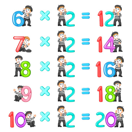 the number multiplication from 12 until 20 with the good pantomime