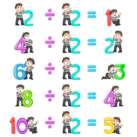 la distribución de números del 1 al 5 con la buena pantomima