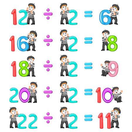 la distribución de números del 6 al 11 con la buena pantomima Ilustración de vector