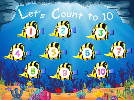 la collection des poissons avec le numéro 1 jusqu'à 10 sur leur corps