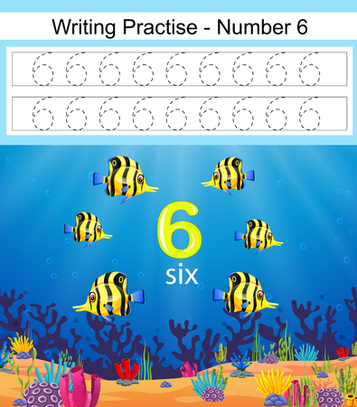 the writing practices number 6 with beautiful fish Vettoriali