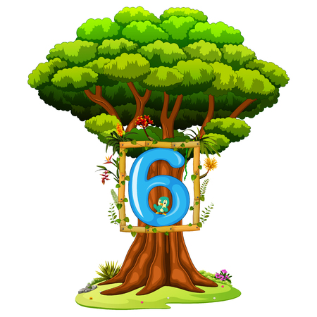 a tree with a number six figure on a white background Illustration