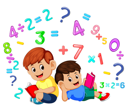 Two boy reading book and learning mathematics