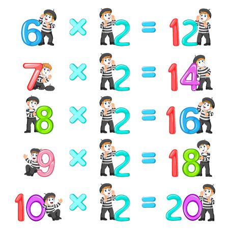 the number multiplication from 12 until 20 with the good pantomime Stock Photo