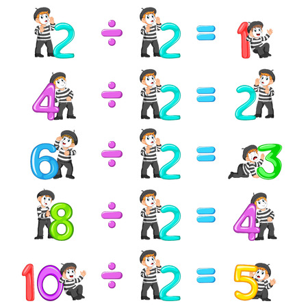 the number distribution from 1 until 5 with the good pantomime Stock Photo