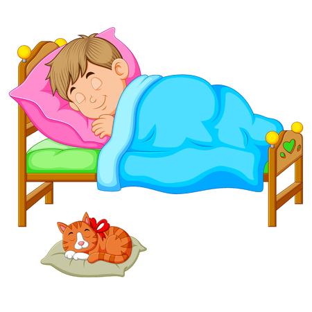 Sleeping boy in bed with a kitten