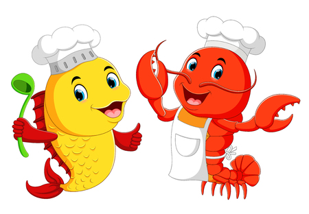 Cute lobster chef and fish chef cartoon