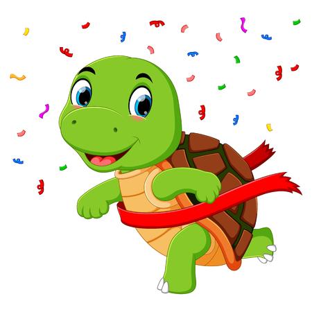 Une tortue qui court jusqu'à la ligne d'arrivée