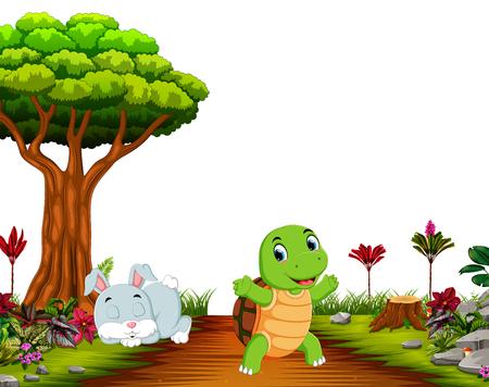 Un lapin dort sous un arbre tandis qu'une tortue court sur la route