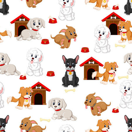 Seamless pattern with various cute dogs Illustration